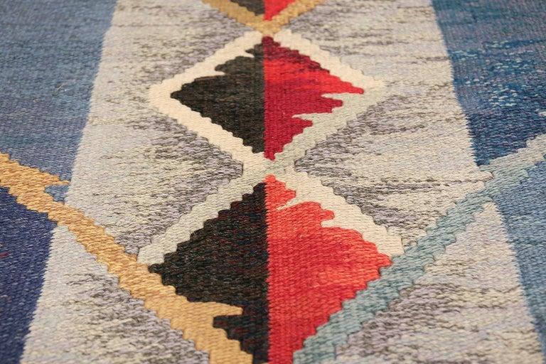 Mid-Century Modern Vintage Scandinavian Kilim Rug by Ann Marie Hoke. Size: 6 ft 5 in x 10 ft 2 in  For Sale