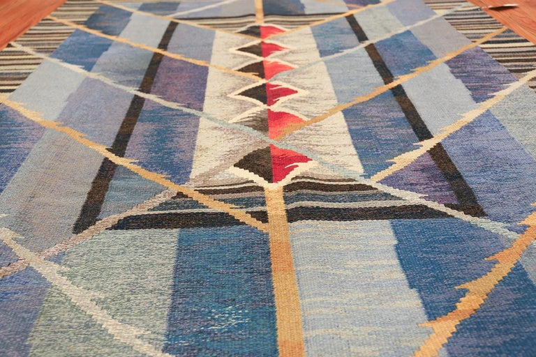 Hand-Woven Vintage Scandinavian Kilim Rug by Ann Marie Hoke. Size: 6 ft 5 in x 10 ft 2 in  For Sale