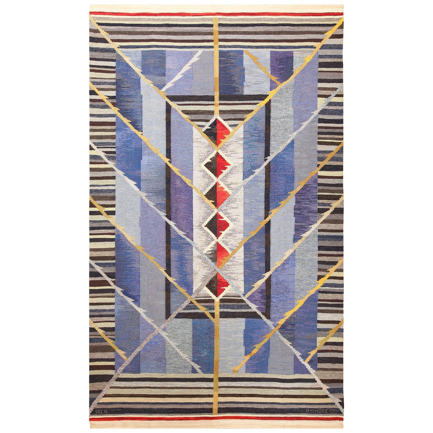 Vintage Scandinavian Kilim Rug by Ann Marie Hoke. Size: 6 ft 5 in x 10 ft 2 in
