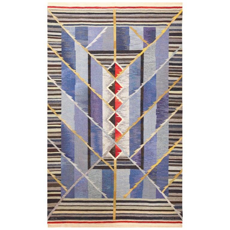 Vintage Scandinavian Kilim Rug by Ann Marie Hoke. Size: 6 ft 5 in x 10 ft 2 in  For Sale