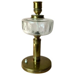 Vintage Scandinavian Large Brass Table Lamp with Glass Detail