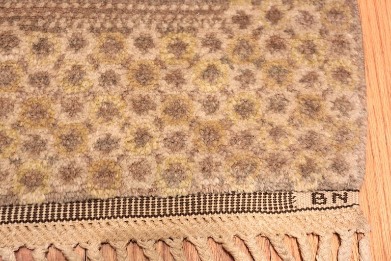 Beautiful vintage Scandinavian by Barbro Nilsson for Marta Maas rug, country of origin: Scandinavia, date: circa mid-20th century - Size: 6 ft 6 in x 8 ft 3 in (1.98 m x 2.51 m)  This gorgeous, earthy carpet is the unmistakable work of mid-century