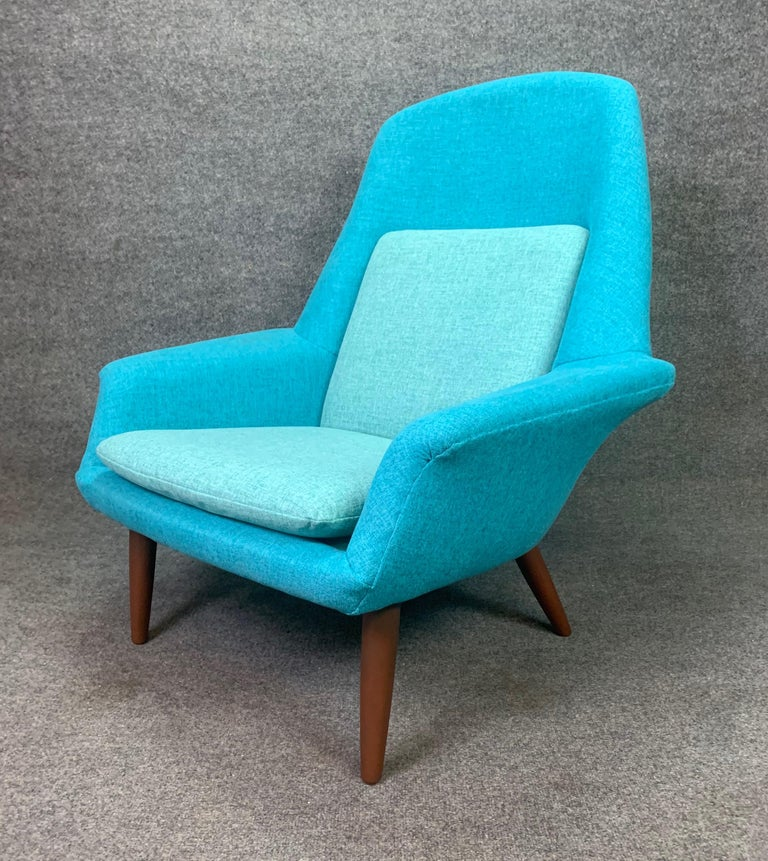 Here is a sculptural Scandinavian Modern easy chair manufactured in the 1960s by Broderna Anderssons in Sweden in the 1960s. This rare and comfortable chair, recently imported from Helsingborg to California, received a complete new foam and period