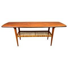 Vintage Scandinavian Mid-Century Modern Teak and Cane Coffee Table