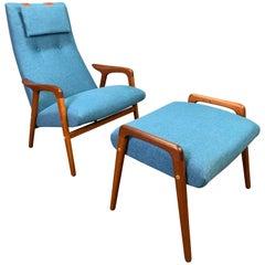"Vintage Scandinavian Mid Century ""Mingo"" Lounge Chair & Ottoman by Yngve Ekström"