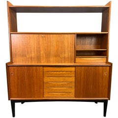 Vintage Scandinavian Midcentury Teak & Oak Highboard Bookcase by Brantorps