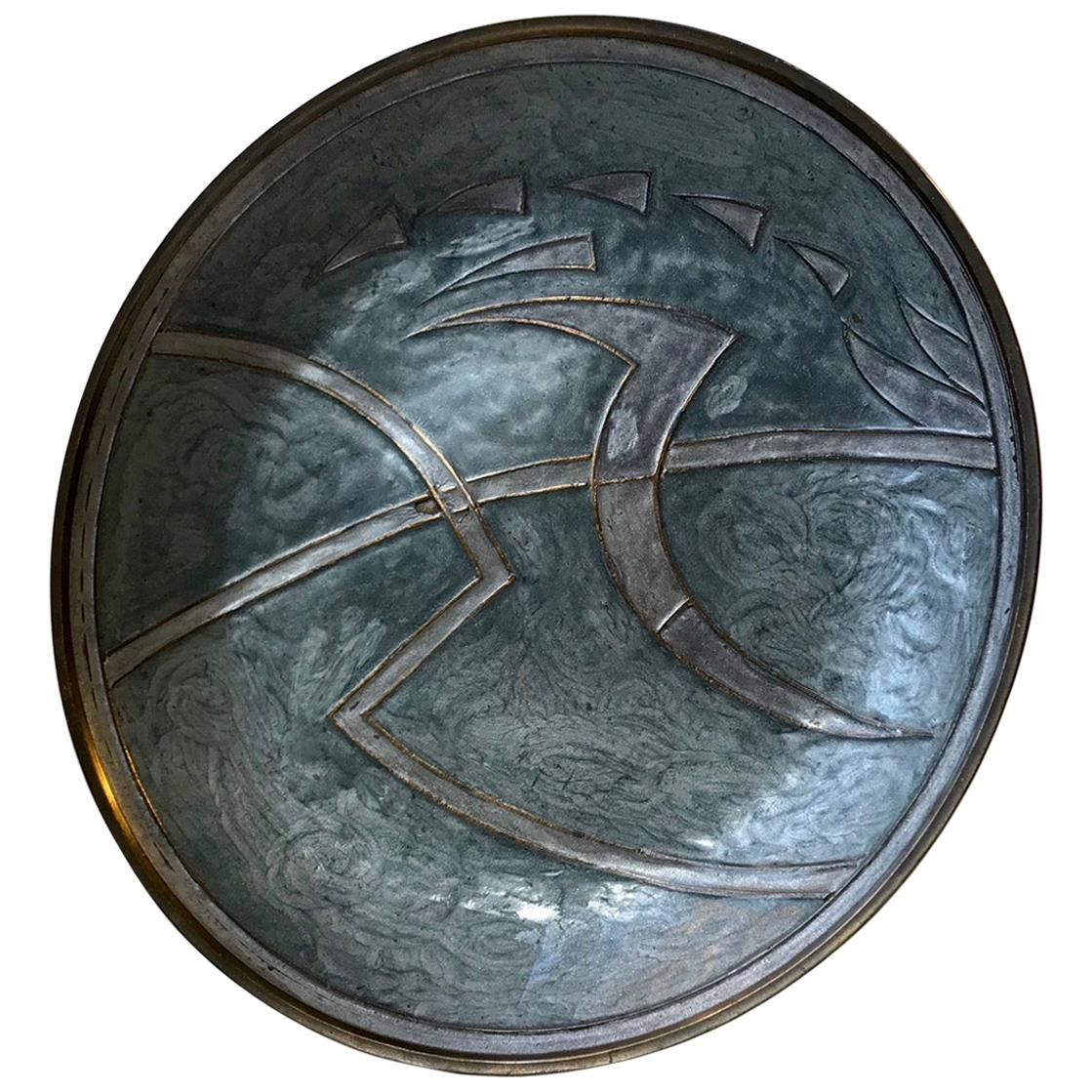 Vintage Scandinavian Modern Abstract Enameled Brass Charger, 1950s