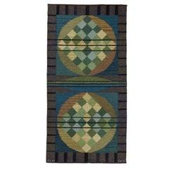 Vintage Scandinavian Modern Handwoven Rug by Vannerus-Rydgran