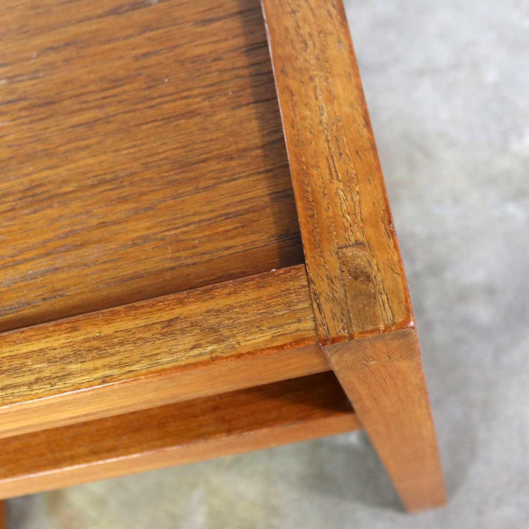 Vintage Scandinavian Modern Pair of Square Open Cube Side Tables in Teak For Sale 6
