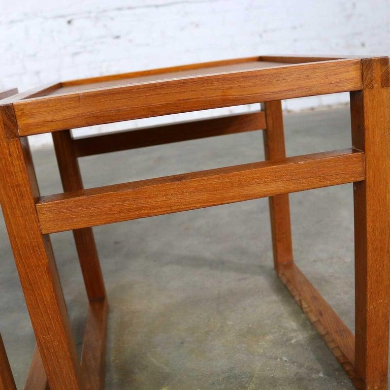 Vintage Scandinavian Modern Pair of Square Open Cube Side Tables in Teak For Sale 8