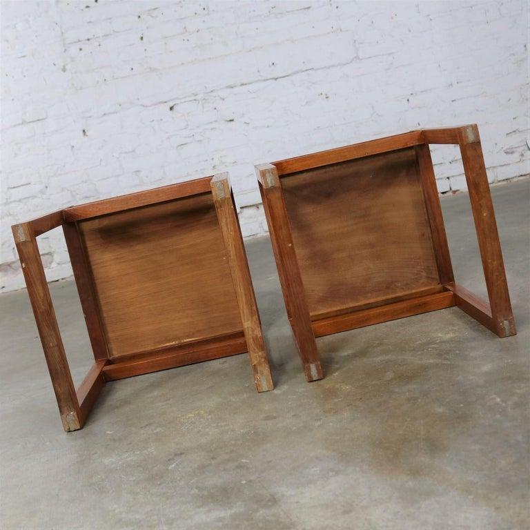 Vintage Scandinavian Modern Pair of Square Open Cube Side Tables in Teak For Sale 9