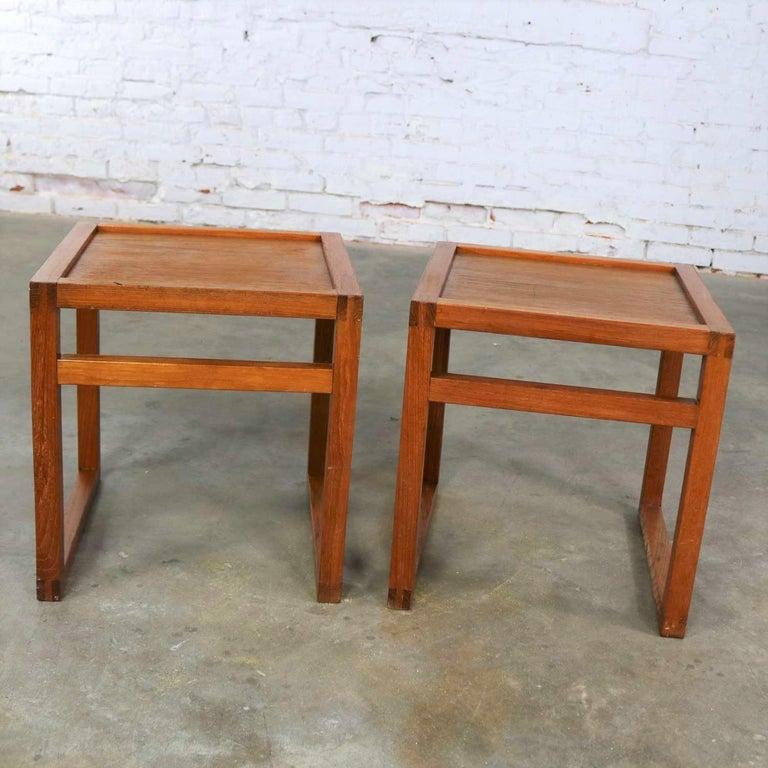 Danish Vintage Scandinavian Modern Pair of Square Open Cube Side Tables in Teak For Sale