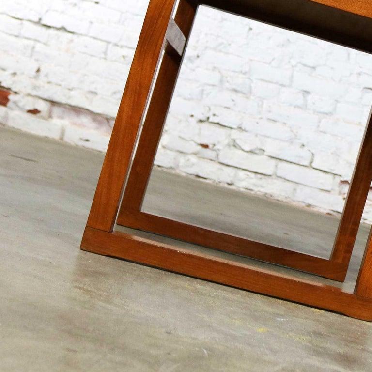 Vintage Scandinavian Modern Pair of Square Open Cube Side Tables in Teak For Sale 4