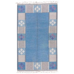 Vintage Scandinavian Modern Rollaken Rug, Light Blue Open Field