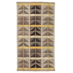 Vintage Scandinavian Modern Rug, Diagonals Carpet by Ingrid Dessau