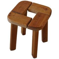 Vintage Scandinavian Modern Solid Wooden Stool