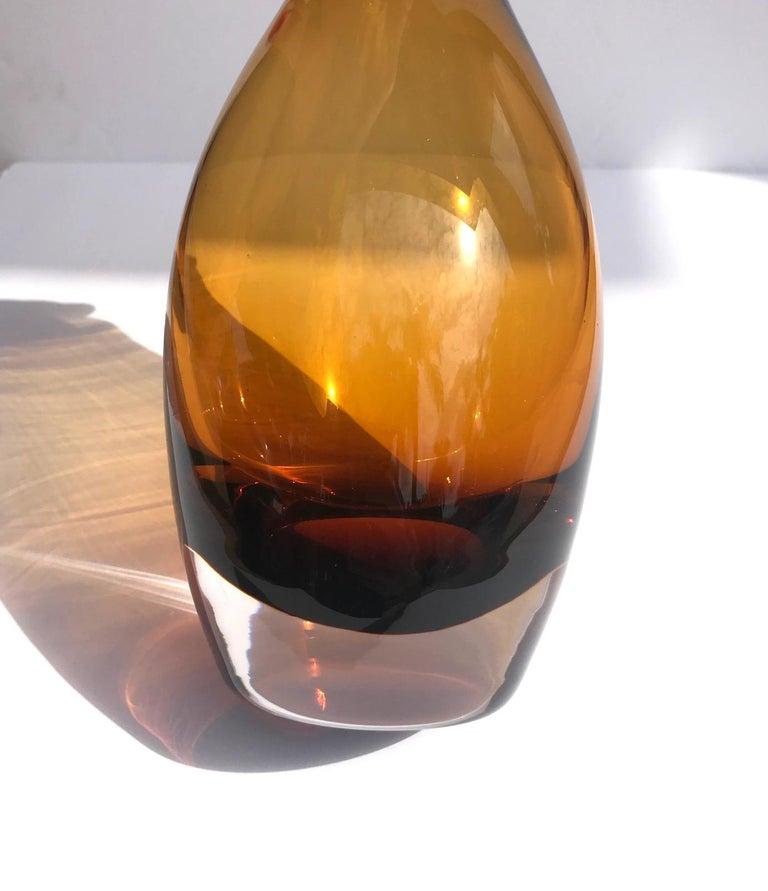 Polished Vintage Scandinavian Modern Sommerso Glass Vase in Amber, 1970s For Sale