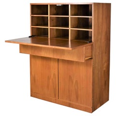 Vintage Scandinavian Modern Teak Drop Front Desk Secretary in a Box, 1960-2000