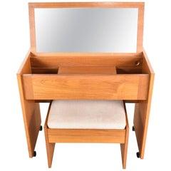 Vintage Scandinavian Modern Teak Flip Open Rolling Make Up Vanity Mirror & Bench