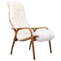Vintage Scandinavian Modern Yngve Ekström Lamino Chair with Sheepskin Upholstery