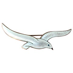 Vintage Scandinavian Peace Dove Pin Brooch in Silver and Enamel guilloche, 1950s