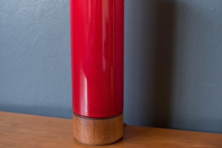European Vintage Scandinavian Red Glass Table Lamp For Sale