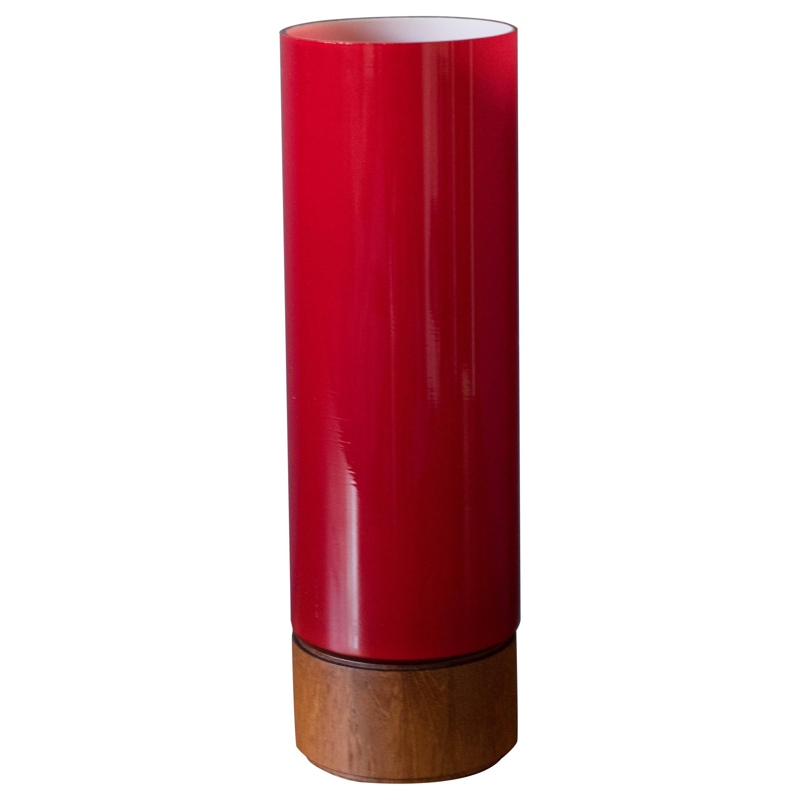 Vintage Scandinavian Red Glass Table Lamp