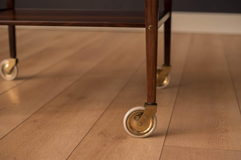 Vintage Scandinavian Rosewood Two-Tier Serving Bar Cart 5