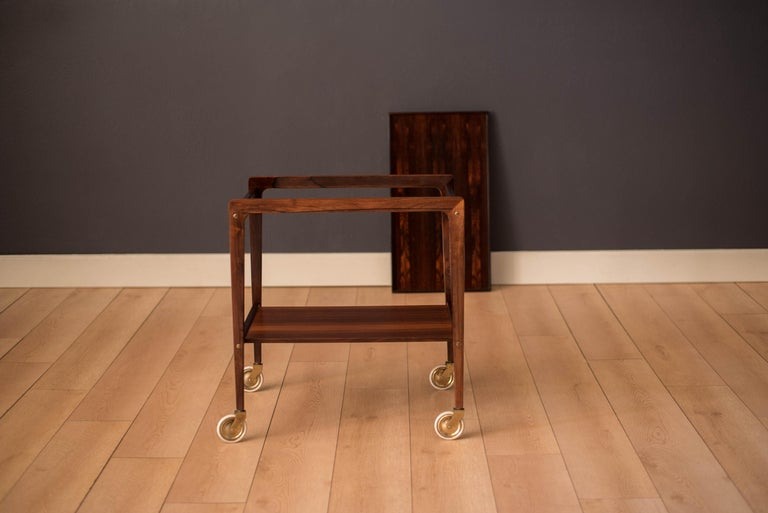 Scandinavian Modern Vintage Scandinavian Rosewood Two-Tier Serving Bar Cart
