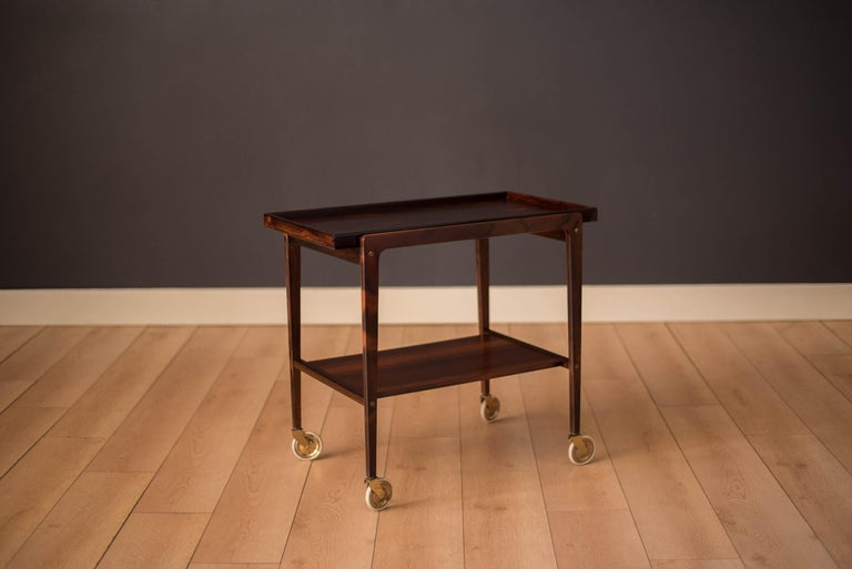 European Vintage Scandinavian Rosewood Two-Tier Serving Bar Cart