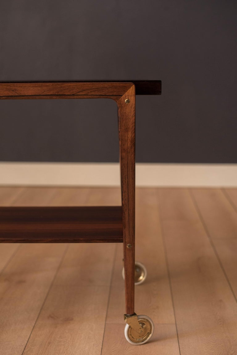 Mid-20th Century Vintage Scandinavian Rosewood Two-Tier Serving Bar Cart