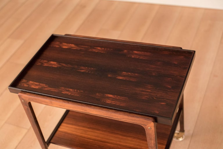 Vintage Scandinavian Rosewood Two-Tier Serving Bar Cart 2