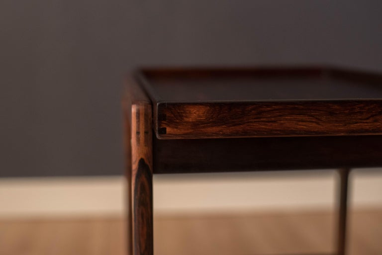Vintage Scandinavian Rosewood Two-Tier Serving Bar Cart 3