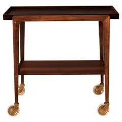 Vintage Scandinavian Rosewood Two-Tier Serving Bar Cart
