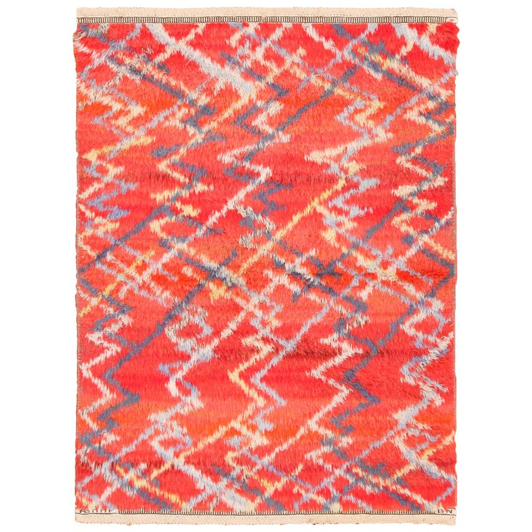 Vintage Scandinavian Rug by Barbro Nilsson for Marta Maas 3 ft 6 in x 4 ft 10 in For Sale