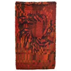 Vintage Scandinavian Rya Painterly Abstract Wool Rug, circa 1950