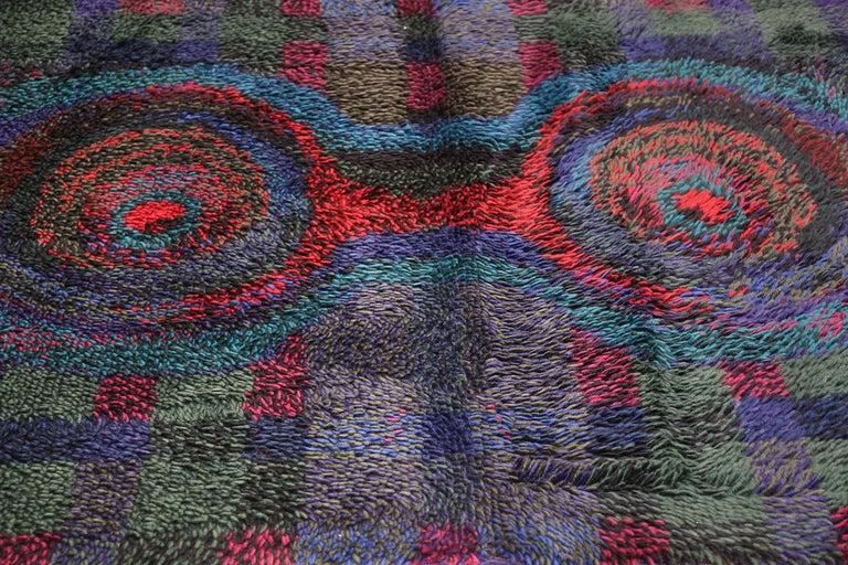Hand-Woven Vintage Scandinavian Rya Rug by Ritva Puotila  For Sale