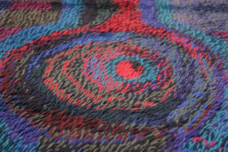 Vintage Scandinavian Rya Rug by Ritva Puotila  In Excellent Condition For Sale In New York, NY