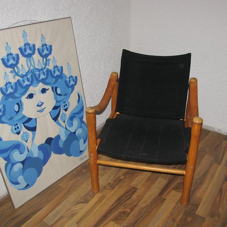 Mid-Century Modern Vintage Scandinavian Safari Chair For Sale