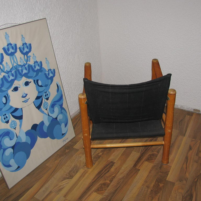 Vintage Scandinavian Safari Chair In Good Condition For Sale In Bochum, NRW