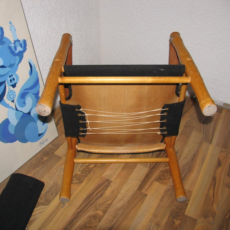Canvas Vintage Scandinavian Safari Chair For Sale