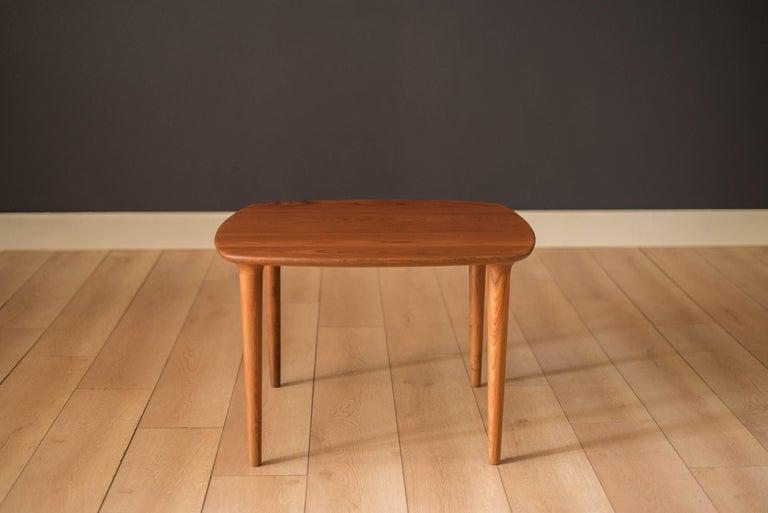 Scandinavian Modern Vintage Scandinavian Solid Teak End Table by Gustav Bahus For Sale
