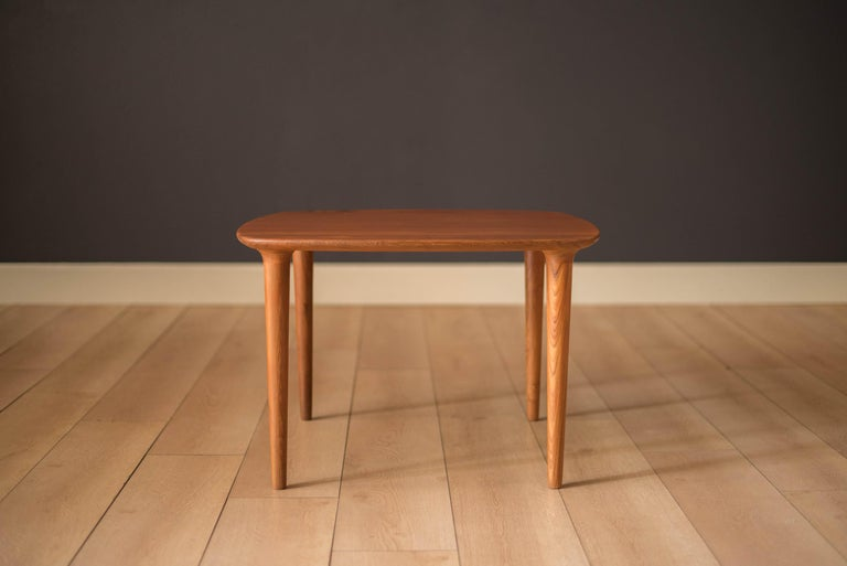Norwegian Vintage Scandinavian Solid Teak End Table by Gustav Bahus For Sale