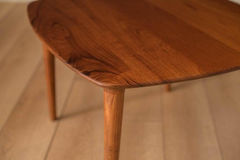Vintage Scandinavian Solid Teak End Table by Gustav Bahus For Sale 1