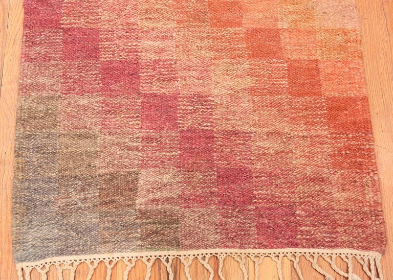 Beautiful Colorful Vintage Scandinavian Swedish Kilim Runner Rug, Country of Origin: Sweden, Circa Date: Mid-Century - Size: 2 ft 5 in x 10 ft 6 in (0.74 m x 3.2 m).