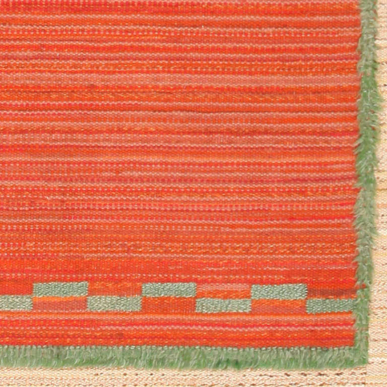 20th Century Vintage Scandinavian Swedish Kilim. Size: 7 ft 10 in x 12 ft (2.39 m x 3.66 m) For Sale
