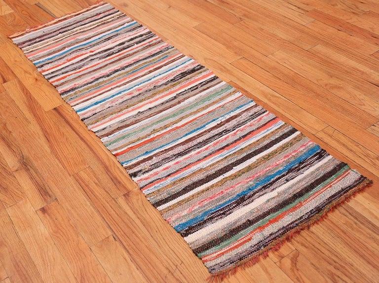 Hand-Knotted Vintage Scandinavian Swedish Rag Runner Rug. Size: 2 ft x 6 ft 3 in For Sale