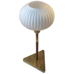Vintage Scandinavian Table Lamp in Brass and Opaline Glass, 1960s