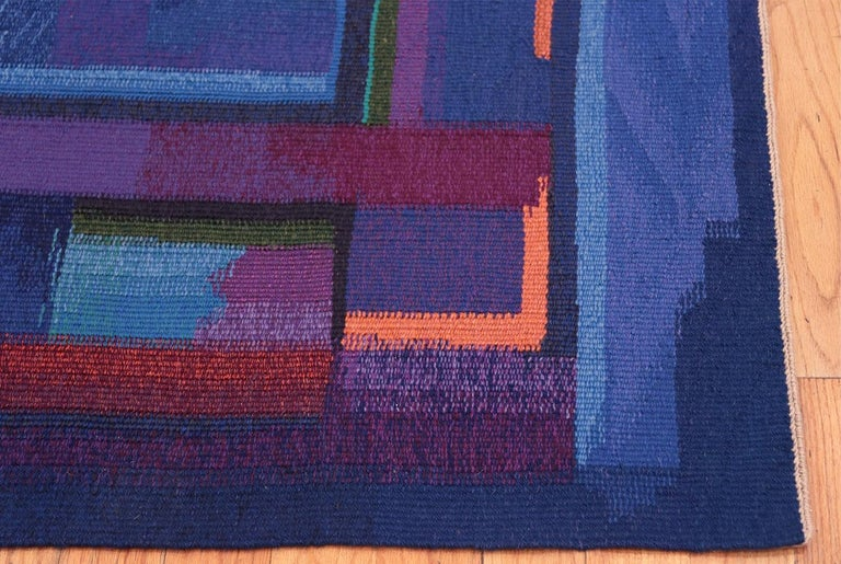 Vintage Norwegian Tapestry Rug by Eevahenna Aalto, Country Of Origin: Norway, Circa date: Mid 20th Century. Size: 3 ft 5 in x 4 ft 6 in (1.04 m x 1.37 m)