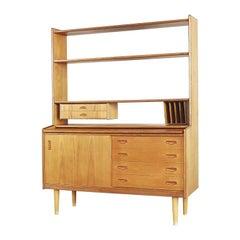 Vintage Scandinavian Teak Bookshelf Unit with Desk and Secretaire, 1960s